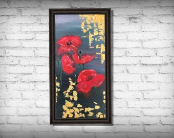 Flower Art Poppies Print Wall Art Canvas Paper - Gift - Birthday Ideas