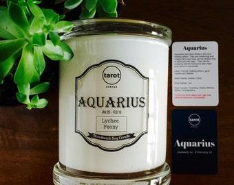 Aquarius - Zodiac Candle - Lychee Peony