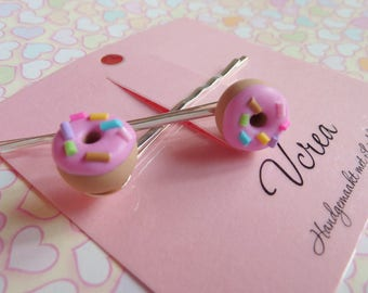 Pink Frosted Donuts with Sprinkles Hair Pins