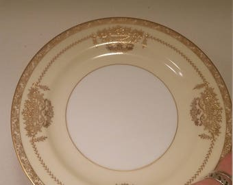 """Salad Plate in the """"Penelope"""" Pattern by Noritake.  7 5/8 Diameter, Gold and Cream."""