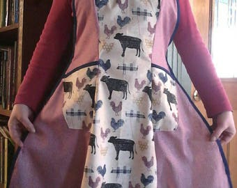 Farm Animals Full Apron featuring Cow, Pig & Rooster Print in Patriotic Reds and Blues. Made from a Vintage 1940's Retro Pattern!