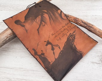 Tree brothers, Deathly Hallows, Tobacco Pouch, Hand painted Leather, Harry Potter pouch, leather Tobacco pouch, vintage tobacco pouch