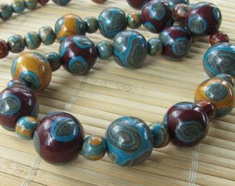 Jewel Tones Beaded Polymer Clay Necklace - Handmade Jewelry for Women