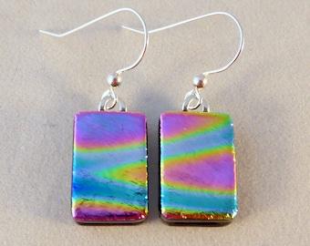 Multi Colored Dichroic Fused Glass Dangle Earrings, Fused Glass, Fused Glass Earrings, Glass Earrings, Dichroic Earrings, Dichroic, Colorful