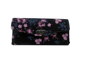 Ready to Ship Mickey Mouse Accordion Style Wallet - Mickey Mouse and Cherry Blossoms Wallet