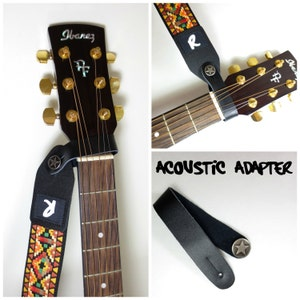 Acoustic Guitar Strap Leather Adapter - Button - Headstock Attachment - Black