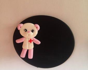Badge nurse pink panda