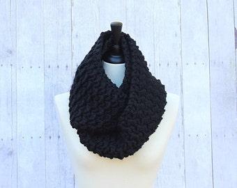 Black Infinity Scarf, Black Loop Scarf, Chunky Infinity Scarf, Black Crochet Scarf, Black Wool Scarf, Black Scarf, Circle Scarf,THE EVEREST