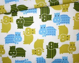 Hippos, 100% cotton fabric printed 50 x 160 cm, hippos on white background