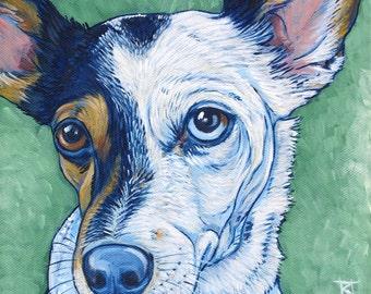"10"" x 10"" Custom Pet Portrait Acrylic Painting on Canvas of One Dog, Cat, Horse, Goat, Other Pet Lover OOAK Art Custom Dog Memorial"