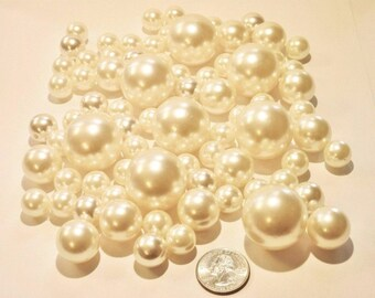 Elegant All Ivory/Champagne Pearls - Jumbo/Assorted Sizes Vase Fillers for Centerpieces