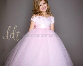 The Sophia Dress with Short Sleeves in Light Pink - Flower Girl Tutu Dress