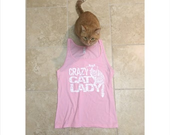 Workout tank, Cat shirt, Funny Tees, Womens Tank Top, Crazy Cat Lady, Graphic Tee, fiancé gift, yoga clothes, yoga cat tank, adopt, rctees