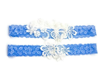 Blue Stretch Lace and White Lace Motif Bridal Garter Set  keepsake and toss garter set