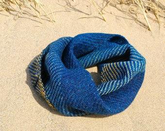 True blue medium seascape snug handwoven in Alpaca and Shetland