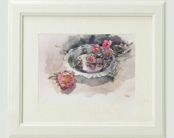Asters, original watercolor painting