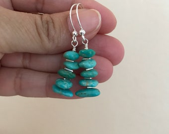 Kingman Arizona Turquoise and Sterling Silver Earrings - Free U.S. Shipping