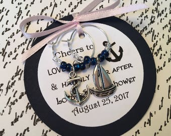 50-95 Custom Nautical Themed Wine Charm Favors - Weddings, Bridal Shower, Rehearsal Dinner, Anniversary, Birthday Party or Special Event