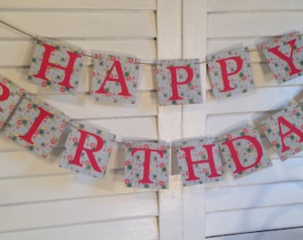 Vintage Happy Birthday Banner, Floral and Red, Pretty