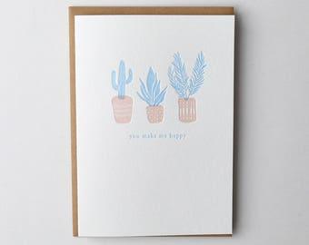 Happy Plants Letterpress Greeting Card