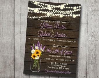 Wedding Invitation Rustic Sunflower Lavender Mason Jar Daisy Wood Fairy Lights Purple Yellow Digital or Printed I customize for you
