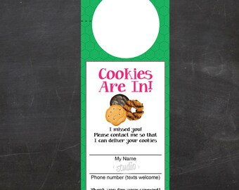 Cookies are in - Girl Scout Cookie Printable Door Hanger - Fill-In the Blanks - Color {Instant Download}