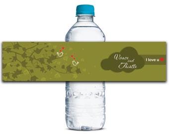 Custom Water Bottle Labels, Personalized Water Bottle Label, Birds Labels, Waterproof Stickers, Wedding Water Bottle Label WBL164P