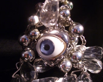 Eye Of God Beaded  and Charm  Necklace
