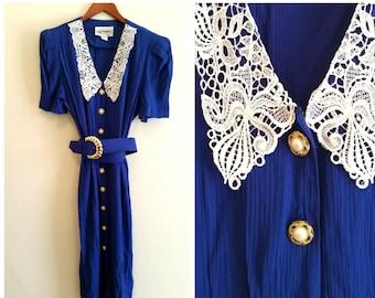 lace collar dress 1980s secretary dress peter pan collar dress vintage blue dress vintage collar dress white lace collar women's large