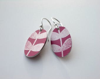 Oval leaf earrings in plum, burgandy and silver