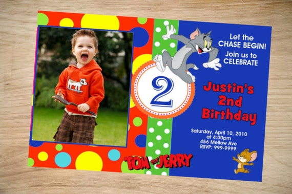 Tom and Jerry Birthday Invitation Tom and Jerry Invitation