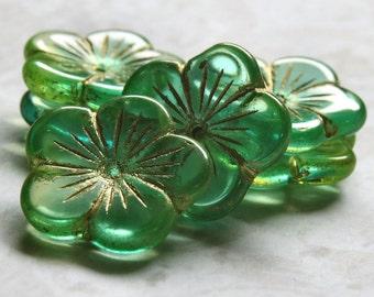 Aqua Peridot Czech Glass 20mm Flower Bead : 6 pc Green Blue Flower
