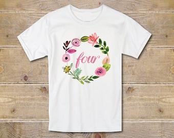 Fourth Birthday Shirt, Four Shirt, Fourth Birthday Outfit, 4th Birthday Shirt, Girl's Clothes, Girl's Shirt, Trendy Shirt, Birthday Gift