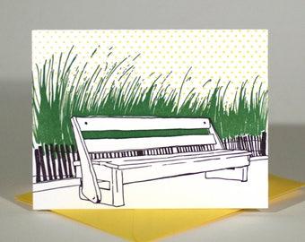Rehoboth Beach Delaware Letterpress Card   Boardwalk Bench   purple, green & yellow single blank card with envelope