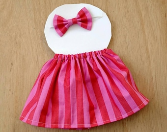 Doll outfit, pink stripe pattern doll outfit, dress up outfit, dress up skirt, dress up headband, doll clothes