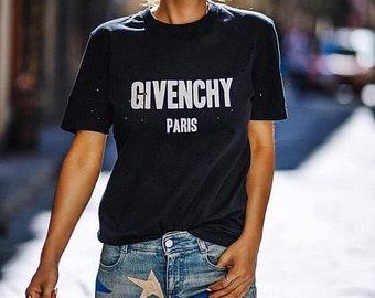 Givenchy Paris Sign T-Shirt Mens Women's White Black Exclusive Tee  Quality Cotton Trend Fashion Designer Inspired Summer LV Unisex Paris