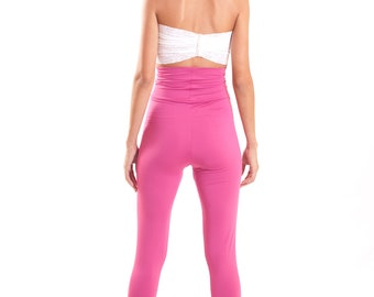 Pink Leggings High Waist Cut Tights Spandex Yoga Pants Fold Over Waistband Leggings