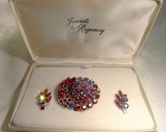 Regency Red and Red Aurora Borealis Rhinestone Pin Brooch and Earrings Set in Box 1950s