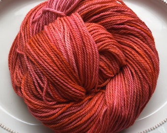 Free Shipping Handdyed ARAN/Heavy worsted weight yarn 100% Superwash  Merino Wool (180yds) COLORWAY: James & The Giant Peach