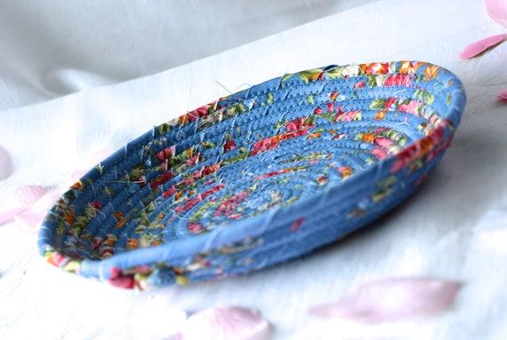 Shabby Chic Home Decor, Handmade Blue Basket, Cornflower Ring Dish, Dresser Tray Bowl, Key Holder Tray, Catchall, Jewelry Tray