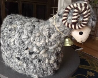Vintage Hand Made Wool and Linen Lamb/Sheep/nursery/baby/decor/brass bell