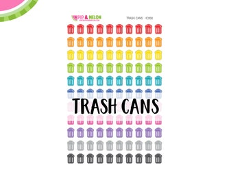 Trash Can Stickers | 110 Kiss-Cut Stickers | Garbage, Trash Day, Cleaning, Bills | IC058
