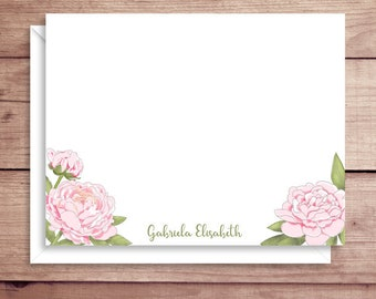 Peony Flat Note Cards - Peonies Note Cards - Peony Thank You Cards - Personalized Peonies Stationery - Floral Note Cards