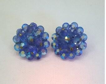 Vintage Blue Crystal and Rhinestone Aurora Borealis Earrings - 1950s Large RS Clip On AB Earrings