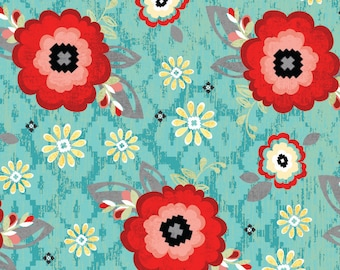 You & Me Blossom Turquoise from Adorn It - Full or Half Yard Red, Coral, Yellow Flowers on Turquoise