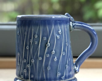 Green - Blue color Stoneware Mug with Impressed Pattern of Dots and Triangles and Copper Oxide wash - 10 ounce