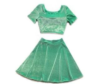 Two Piece Set Short Sleeve Velvet Dress, Matching Set, Mint Velvet, Twin Set High Waist Skater Skirt Crop Top Stretch Knit Festival