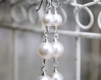 Pearl Bridal Earrings, White Pearl Wedding Earrings, 3 Tier Swarovski Pearl, Long, Dangle, Bridal Jewelry, Bridesmaids Earrings