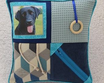Fidget Cushion  with Dog ~ Sensory Activity Pillow ~ Dementia Twiddle Cushion ~ Alzheimer Gift ~ Busy Cushion ~ 'Black Labrador on Blue'