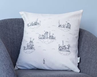 Pillow clouds and houses - Pillow modern design- Serigraphy- Limited Edition